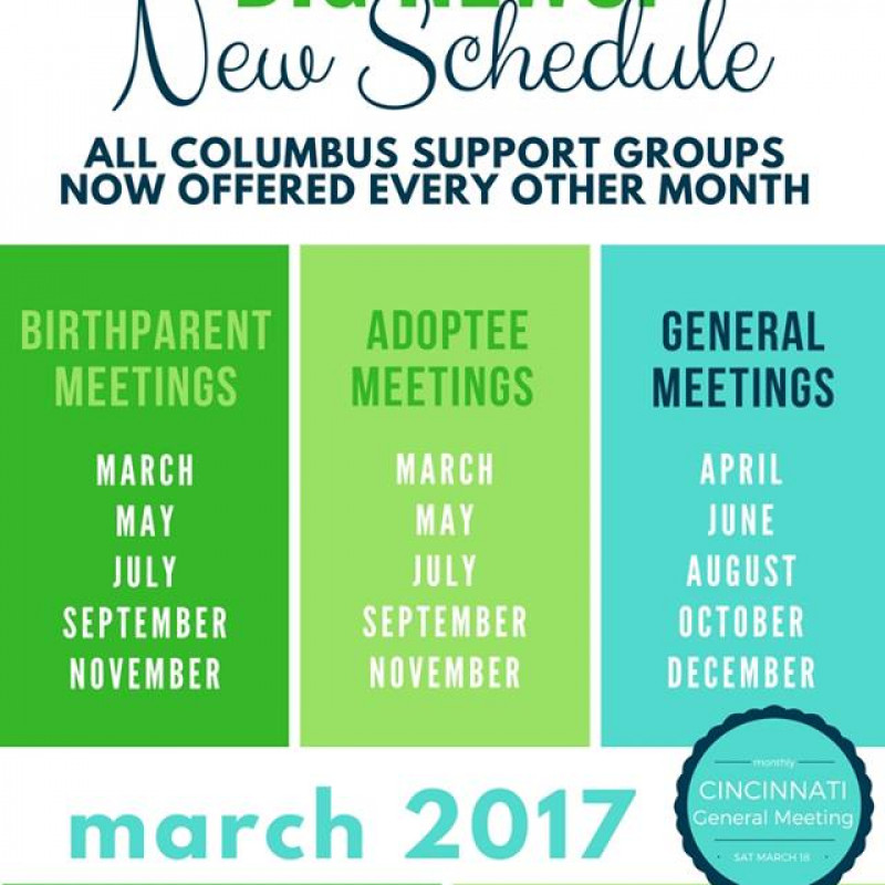 Adoption Support Group Schedule!